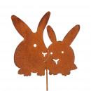 wholesale Decoration: Metal plug rabbit pair , H60cm, rust